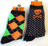 Halloween Socks Orange Green Argyle Orange Skull Crossbones Womens 4-10 NWT