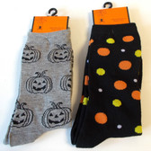 Halloween Socks Jack-o-lantern Polka dot Black Gray Womens 4-10 NWT