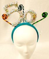 50th Silver Metallic Birthday Anniversary Party Headband NWT