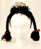 Black Braids Raggedy Ann Yarn Party Headband NWT