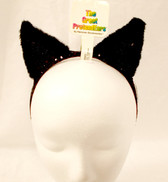 Black Cat Sequin Plush Fur Headband Costume Accessory NWT