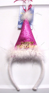 Pink Happy Birthday Hat Headband NWT