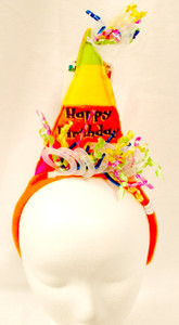 Happy Birthday Orange Cone Hat Birthday Party Headband NWT