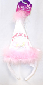 White Princess Cone Hat Birthday Party Headband Costume NWT