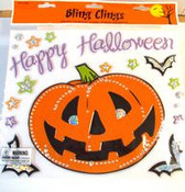 Bling Happy Halloween Pumpkin Bats Window Gel Cling NIP