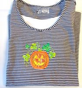 Halloween Black White Striped Pumpkin Leaves Long Sleeve Shirt S NWT