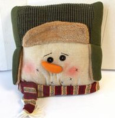 Snowman Face Pillow Green Hat Red Scarf Christmas Winter Decor 13' NWT
