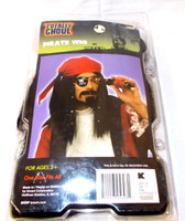 Black Pirate Wig Red Bandana Braids Beads Adult One Size Fits Most 3+ NIP