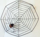 Spiderweb Black Orange Striped Spider Halloween Decor 17' NWT