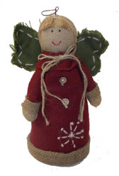 Red Burlap Angel Holiday Table Decor 11' NWT