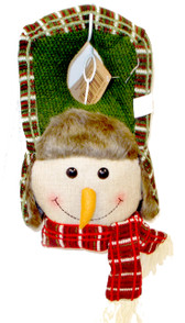 Snowman Face Fabric Christmas Door Hanger 19' NWT