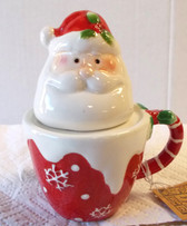 Salt Pepper Shaker Holiday Friend Tea Cup Santa 5' Tall Stacked NIP