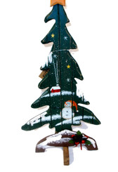 Short Wood Christmas Tree with Snowman 15' NWT