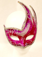 Mardi Gras Crescent Mask Magenta Purple Costume Accessory NWT