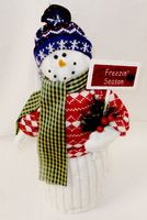 "Fleece Snowman Wearing Red Sweater Freezin Season Decor 15""NWT"