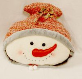 "Snowman Pillow Hat Bow Red Plaid Plush Winter Decor 18"" NWT"