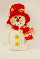 "Stuffed Candy Cane Snowman Red Hat Ornament Winter Decor 6"" NWT"