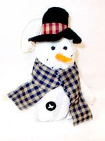 "Fleece Snowman Ornament Black Top Hat Christmas Winter Decor 7"" NWT"