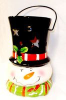 "Snowman Tealight Holder Ceramic Christmas Winter Decor 8.75"" NWT"