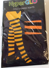 Orange Black Striped Child Tights HyperGlo 5+ OSFM NIP