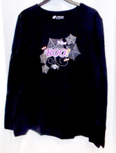 Black Long Sleeve Halloween Shirt with Purple Silver Glitter Boo S NWT