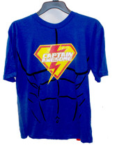 Halloween Boys Blue Short Sleeve Tee Shirt Captain Awesome  L 14-16 NWT