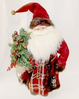 "Santa Standing Kris Kringle Holding Tree And Lantern 28"" NWT"