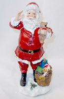 "Santa Red White Tabletop Resin Vintage Look Holding Teddy Bear 10"" NWT"