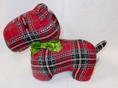 "Plaid Dog Holiday Red Plaid Scotty Dog 11"" NWT"