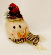 "Snowman Burlap Head Red Hat Green Scarf Plush Stuffed Winter Decor 10"" NWT"