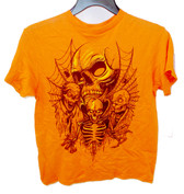 Halloween Boys Orange Short Sleeve Tee Shirt Skeletons S 6-7 NWT