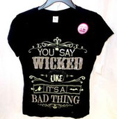 Glow in Dark Glittered Black Wicked Like Its A Bad Thing Tshirt Junior M NWT