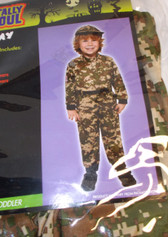Army Jumpsuit Hat Boy Costume Child 4-6 NWT