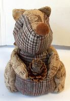 "Burlap Squirrel Plaid Burlap Print Christmas Holiday Decor 9"" NWT"