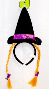 Witch Headband Orange Wired Silky Hairbraid Purple Bow Costume Dress-up NIP