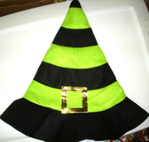 Halloween Green Black Felt Witch Hat OSFM 8+ NWT