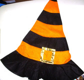 Halloween Orange Black Felt Witch Hat OSFM 8+ NWT