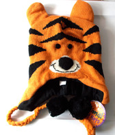 "Tiger Orange Animal Knit Fleece 16"" Hat Child Costume Hat 5-8 NWT"