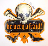 "Be Very Afraid Skull Cross Bones Paper Halloween Sign 15"" NWT"