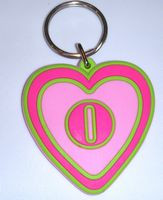 Initial O Heart Keychain Keyring Backpack Ring Gift Tag Pink NeW