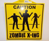 "Caution Zombie Crossing Xing Paper Halloween Sign 15"" NWT"