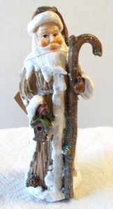Snowy Santa Holding Staff Birdhouse Ceramic Figurine Table Decor 7""