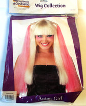 Anime Long Blonde Pink Streaks Streaked Costume Wig OSFM Adult NIP