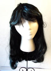 Black Blue Streaked Halloween Costume Wig Adult OSFM NIP