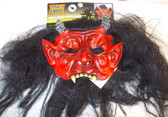 Red Devil Monster Mask Black Wig NWT