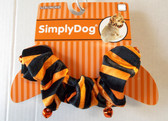"Dog Scrunchie Black Orange Stripes Pet  14-16"" M/L  NWT"
