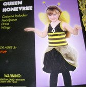 Queen Honeybee Costume Dress Wings Child M 5-7 NWT