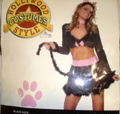 Black Cats Sexy Costume Dress Adult M/L 6-9 Forplay NIP