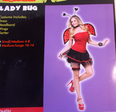Lady Bug Ladybug Adult Costume Wings Garter S/M 4-8 NIP