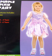 Purple Pixie Fairy Child Costume Dress 4-6 Years NIP